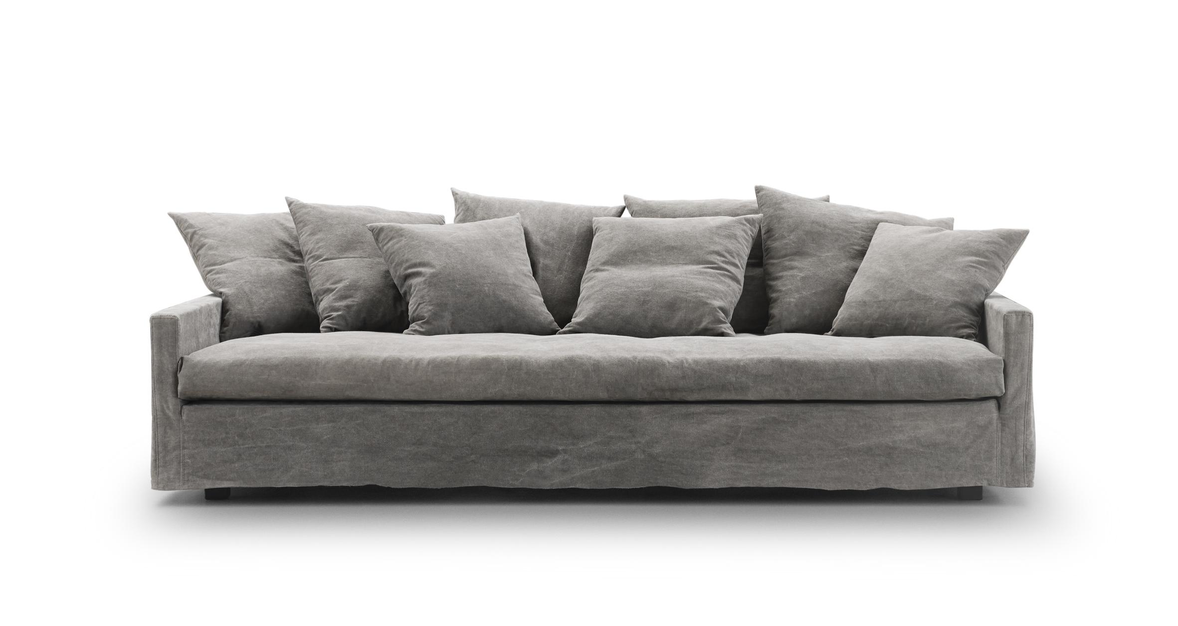 soffa med djup sits - Djup Soffa 3sits Soffa Soffa 100 4 Sits Med Fotpall Linne Grov2 Attic Living Area In Grey Via