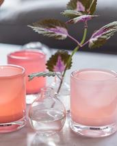 Skogsberg & Smart ljuslykta Hurricane Candy-rosa toner