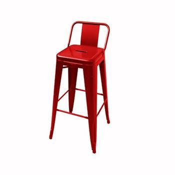 TOLIX barstol med lågt ryggstöd, 65 cm metall,blank lackad