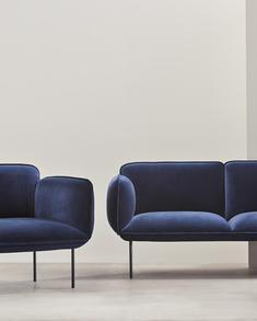 Woud-lounge-fåtölj , Nakki, sammet
