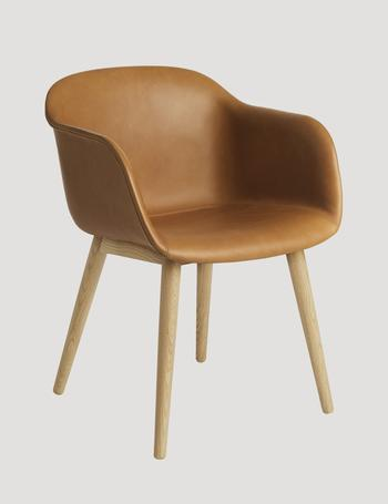 Muuto Fiber leather armchair, wood base